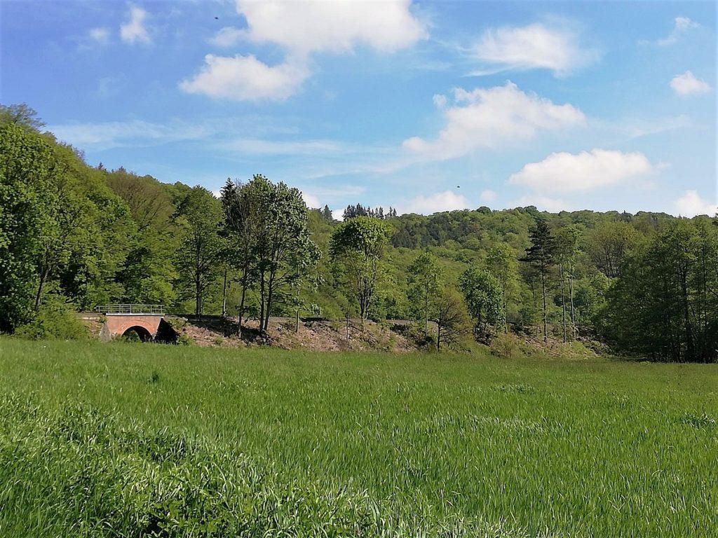Landschaft mit Bahnstrecke und Brücke