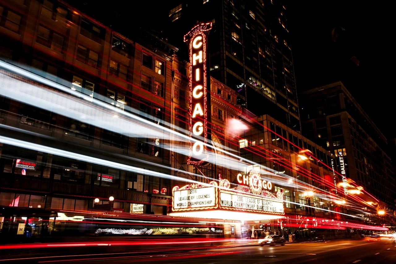Chicago bei Nacht in den Vereinigten Staaten